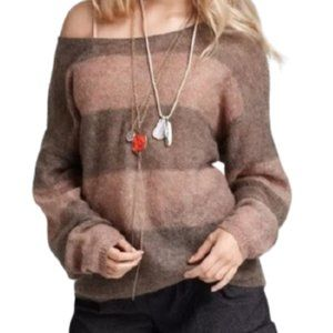 Free People Striped Lightweight Sweater Mohair Blend Brown Tan Size Small